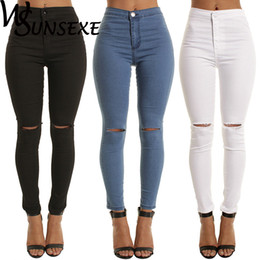 Wholesale white pants women for sale – dress Summer Style White Hole Skinny Ripped Jeans Women Jeggings Cool Denim High Waist Pants Capris Female Skinny Black Casual Jeans