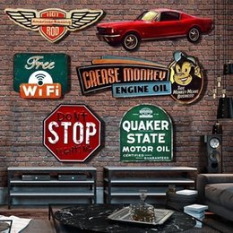 Discount wall stickers restaurants Irregular shade Vintage Tin metal Sign plaque Bar pub home House Cafe Restaurant Wall Decor Retro Metal Art sticker Post