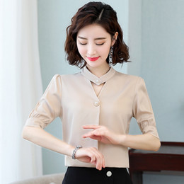 Wholesale shirt quilt online – design 72Hlc Chiffon short sleeved women s clothing new fashionable summer women s clothing loose large size slimming Quilt cover shirt belly