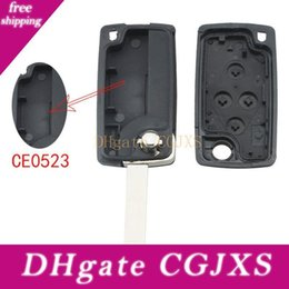 peugeot key fob replacement NZ - Black 4 Buttons Folding Replacement Key Remote Fob Shell Case With Uncut Car Flip Key For Peugeot 1007 Citroen C8 Cia _413