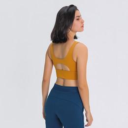 luyogasports sports bra lu yoga gym clothes women underwear running pull-up round neck lu bra hollow-out back hem widened bodyshapewear vest on Sale