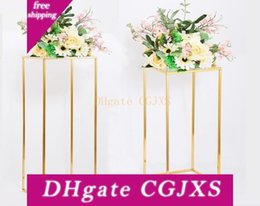place gold Australia - Gold Color Wedding Decoration 4pcs  Set Wedding Flowers Stand Arrangement Table Centerpiece Iron Geometric Placed Props