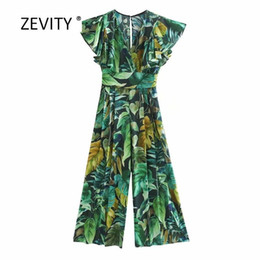 leaves prints casual pants Australia - New 2020 women tropical green leaves print wide leg pants siamese rompers ladies butterfly sleeve jumpsuits casual trousers P812 T200824