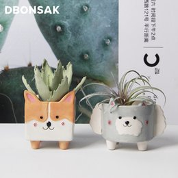 flower pot crafts Australia - Cartoon Animal Ceramic Flowerpot Sheep Corgi Flower Pot Succulent Cactus Plant Pots Home Decor Crafts Sculpture Garden Ornaments Y200723