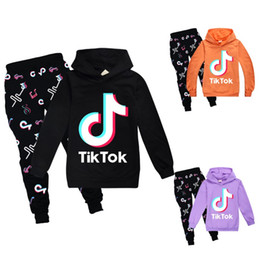 Discount hot boy black trouser 2pcs set Hot Sale TikTok Kids Set Long Sleeve Hoodie Trousers Cotton Blend Multicolor Optional Tik Tok Kids Clothes Boys Girls Clothing