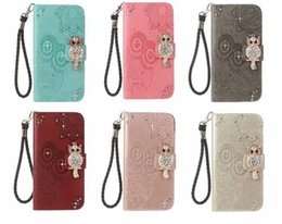 case samsung owl UK - Owl Leather Wallet Bling Diamond Imprint Slot Flip Case For Samsung S20 Plus S20 Ultra S8 S9 S10 Plus S10 Lite Note10 Pro A51 A71 Note9