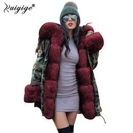 Wholesale khaki jeans jacket resale online – designer Ruiyige New Women Winter Coat Red Fur Hooded Jeans Jacket Woman Parkas Winter Long Warm Coats Female Parka Plus Size
