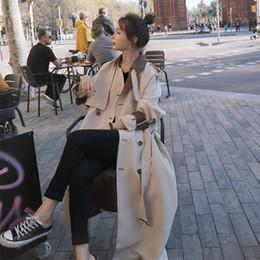 Wholesale elegant style women trench coat for sale - Group buy jhVHw Autumn New Korean Windbreaker style women s elegant classic stitching trench Autumn New Korean Windbreaker coat style women