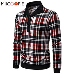Wholesale plaid sweaters for sale – oversize Button And Zipper Collar Designer Sweater Men Fashion Plaid Pullover Sweter Coats Classic Slim Thin Jersey Mens Knitted Sweaters