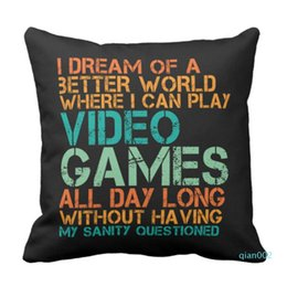 Wholesale games funny videos online – design Throw Pillow Cover Funny Quote for Video Games Geek and Gamer ative Pillow Case Home Square x Inch