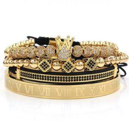 3pcs set+Roman numeral titanium steel bracelet couple bracelet crown for lovers bracelets for women men luxury jewelry a518 on Sale
