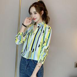 Wholesale plus size chiffon sleeve blouse design online – JFUNCY Plus Size Women Tops Woman Blouses Elegant Stripe Design Long Sleeve Chiffon Shirts Korean Office Lady Work Wear