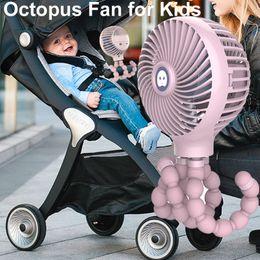 Wholesale octopus cartoon online – ideas Hanging Fan for Baby Stroller Mini Portable Octopus Shape Stand USB Charging Fan Adjustable Handheld Cartoon Lovely Fans OWB1136