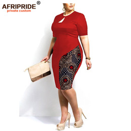 Wholesale women s dress fabrics resale online - African dresses afripride tailor women s dress long knee print ankra solid color african fabric print a722514