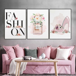 girls rooms decor UK - Fashion Poster Flower Rose High Heels Canvas Print Perfume Makeup Wall Art Canvas Painting Modern Picture Girl Woman Room Decor