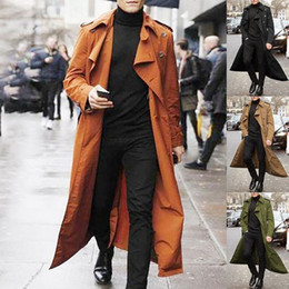 Wholesale orange trench resale online - New Long Coat Men Spring Autumn Men s Trench Casual Trench Men Loose British Style Men s Overcoat Streetwear Coat