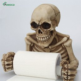 toilet roll paper UK - Toilet Paper Rack Resin Skull Tissue Box Holder Wall Mount Sanitary Roll Paper Storage Bathroom Organizer Toilet Holder m12h#