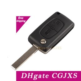 peugeot key fob replacement NZ - Car Replacement Flip Key 2 Button Fob Case Shell Blade For Peugeot 207 307 308 &407 Aup _41t