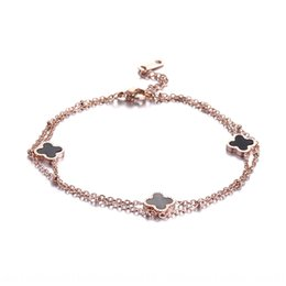 copper anklets NZ - DpyJl Double-layer four-leaf clover anklet double layer Leaf grass design women's personalized Korean-style Internet celebrity women's sexy