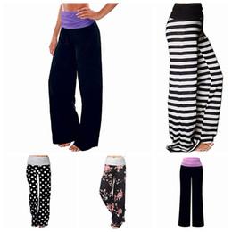 Wholesale wide legged printed pants for sale – dress Sport Trousers Female Wide Leg Pants Stripe Splice Mid Waist Milk Silk Dot Print Trousers Loose Yoga Sports Causal Pants LJJP376