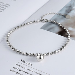 copper anklets NZ - vCj5D Korean style INS style S925 sterling silver anklet women's online red personalized simple all-match round Beads Jewelry beads beaded a