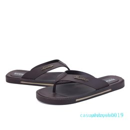 brown rubber flip flops Australia - Wholesale-Men Sandals Fashion Causal Breathable New Summer Street Fashion Leather Flat Sandals Mens Flip Flops Beach Slippers Brown y15