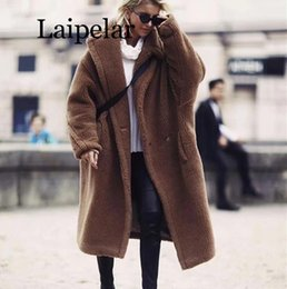 Laipelar New Fashion inverno oversize lungo Camel Coat donna di alta qualità Faux Fur Jacket Fuzzy Brown Shaggy Teddy Coat