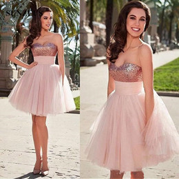 Discount sweetheart roses prom dresses Rose Gold Sequins Sweetheart Short Prom Dress with Puffy Light Pink Tulle Skirt Party Gowns For Girls Homecoming Cocktail Dresse