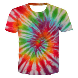 Discount mens fashion t shirt trends Tie-dye Mens T-shirt Fashion Trend 3d Digital Printing Round Neck Breathable Short Sleeve Designer Summer Loose Plus Siz