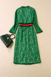Großhandel 801 2020 Kostenloser Versand Sommer Eine Linie Langarm Kleid Prom Mode V-Ausschnitt Green Flora Print Mid Calf Marke Gleiche Art wie