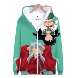Wholesale inuyasha cosplay for sale - Group buy Anime Inu Yasha Inuyasha Zip Up Women Men Hoodies Sweatshirt Sesshoumaru Higurashi Kagome Cosplay Zipper Hooded Jacket Outerwear