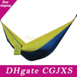 hanging outdoor beds UK - 2018 Portable Outdoor Hammocks 2 Person Garden Sport Leisure Camping Hiking Travel Kits 6 Colors Hanging Bed Hammocks