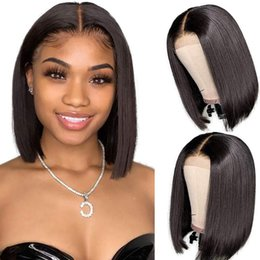 color bob wigs UK - Short Straight Bob Wig 4*4 Lace 8-14 Inch Lace Closure Wig Pre Plucked Hairline For Black Women Hair Remy Hair