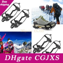 snow shoe grips Australia - Durable Crampons Climbing Anti Slip Shoes Cover Not Easy To Damage Deformation 24 Teeth Snow Shoe Spiked Grips Cleats