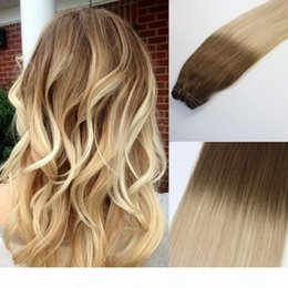 blonde highlight human hair extensions Australia - Human Hair Weave Ombre Dye Color Brazilian Virgin Hair Weft Bundle Extensions Balayage Three Tone 24#Blonde Highlights Thick End