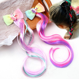 Cute Children's Hair Accessories Vintage Colorful Wig Braids Hairpin Girls Bow Hairpin Clip Hair Jewelry for Party on Sale