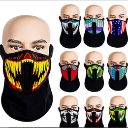 LED Half Mask Flashing Light Up Voice Activated Face Mask Sound Control Face Masks Face Cover Facemask Halloween Cosplay 69Color E81201 on Sale
