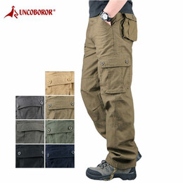 Wholesale mens work pants for sale - Group buy 2020 Mens Cargo Pants Tactical Multi Pocket Overalls Male Combat Cotton Loose Slacks Trousers Army Work Straight Pants