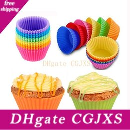 silicone trays moulds Australia - High Quality Colorful Round Shape Silicone Muffin Cupcake Mould Case Bakeware Maker Mold Tray Baking Cups Liner Baking Molds