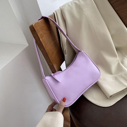 Wholesale french women handbags resale online - Colorful Shoulder Bag For Women PU Leather Armpit Bag French Baguette Leisure Handbags Female Designer Mini Lady Totes Purse