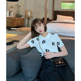 Wholesale linen blouses for women online – Online celebrity homemade flower blouse Sweater Shirt shirt ice linen hipster aging flower design Polo collar sweater for women