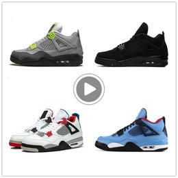 neon sport shoes UK - jack jumpman 4 4s cactus men womens basketball shoes neon black cat court purple mens trainers sports sneakers IRIP