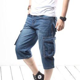 Wholesale mens jeans 46 for sale – denim Mens Loose Denim Short Men Jeans Fashion Streetwear Hip Hop Long Capri Cargo Shorts Plus Size