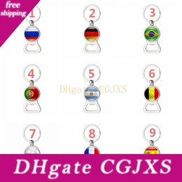 Wholesale world soccer gifts for sale – custom World Cup Country Flag Opener Multifunction Wine Beer Bottle Opener With Key Chain Creative Soccer Fans Souvenir Gift