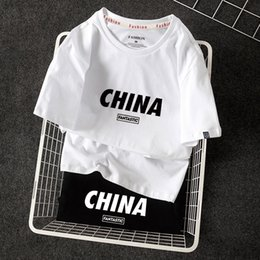 worn clothes china UK - Short-sleeved china T-shirt- underpants summer china cotton Loose Women's trendy shirt wear base couple men's t clothes clothes lbsbd