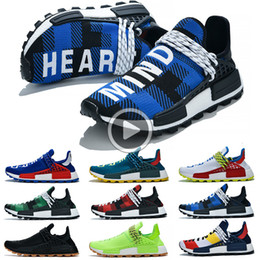 human race sneakers blue UK - NMD Human Race men women Running Shoes mens trainers shoes Pharrell Williams Triple Black White Blue High Quality sports sneakers US 5-12 B3