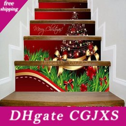 Wholesale star quotes for sale – custom Merry Christmas Stairway Decals Quotes Gold Stars Balls Bowknots Xmas Tree Stairs Sticker Decoration Home Pvc Art Murals For Staircase