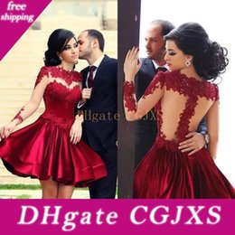 Wholesale hot sexy dresses cocktail long sleeve resale online – 2018 Hot Sale A Line Short Homecoming Dresses Illusion Long Sleeves Applique Cocktail Party Gowns See Through Zipper Back Sexy Prom Dress
