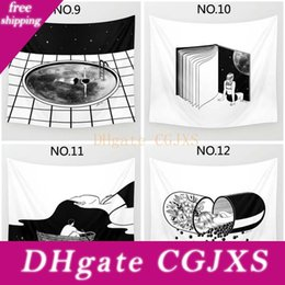 Wholesale black illustrations online – design Home Decorative Polyester Tapestry Abstract Surrealism Illustration Black White Pop Art Pattern Beach Towel Fashion Sofa Wall Decor
