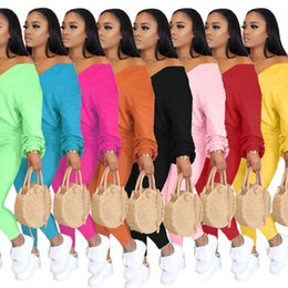 Wholesale solid colour shirts resale online – Autumn Women lantern Sleeve Two piece Set Solid Color Temperament Casual T Shirt Tight Long Pant Outfits Ladies fashion Leisure new colour